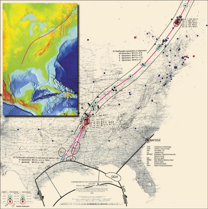 "Fig 4. ""Crack Through America"" Research analysis data & map plot showing path of inferred lineament from frequency, location, & magnitude of quakes."