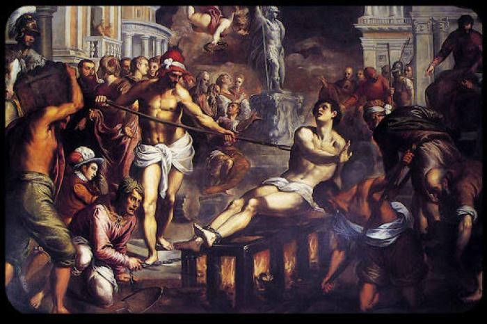 St. Lawrence was grilled to death over a fire. The peak of the shower coincides with his feast day.