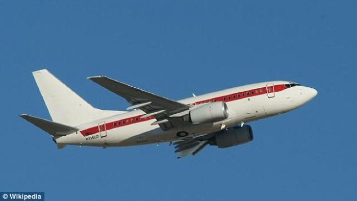 One of the old, unmarked 737 planes flying personnel to Area 51.