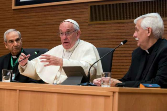Pope Francis addresses the General Congregation of the Society of Jesus in Rome.
