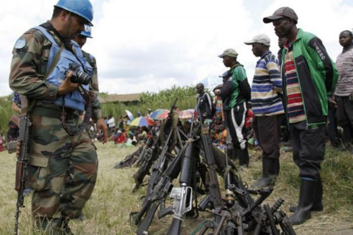 UN peacekeepers recover weapons from militants in Congo.
