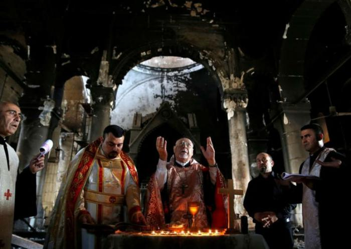 They celebrated Mass in the ruins.
