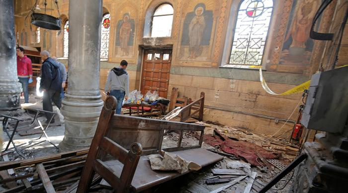 The church was badly damaged and at least 25 have been reported dead.