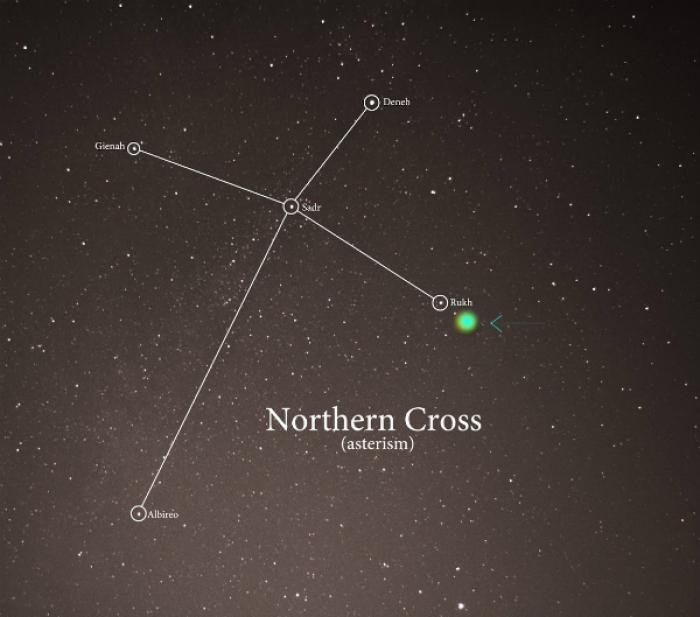 The arrow and spot marks where the new star is expected to appear.