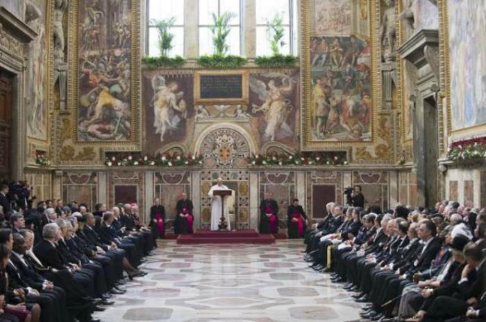 Pope Francis speaks to the Diplomatic Corps Accredited to the Holy See.