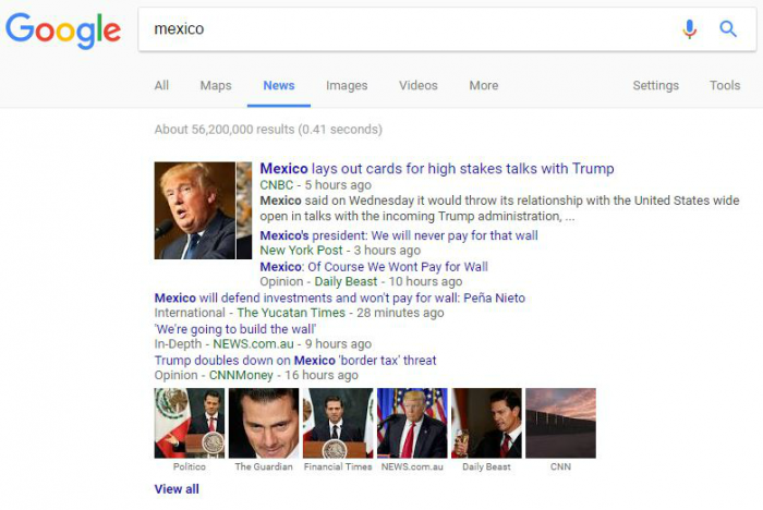 Censorship includes soft censorship where the media reports on distracting topics while ignoring the real news of the day. A Google search of Mexico under Google News returned zero results about unrest in that country and instead favored reports on Trump and his pledge to build a wall.