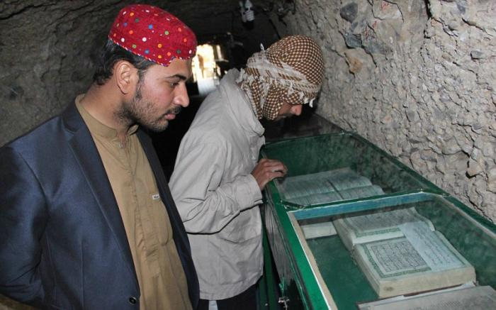 Many visit the shrine to see preserved historical copies of the Koran.
