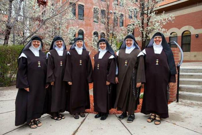 Six sisters from the Institute of Allied Discalced Carmelites of the Holy Trinity currently living and working on the St. John Paul II Center.