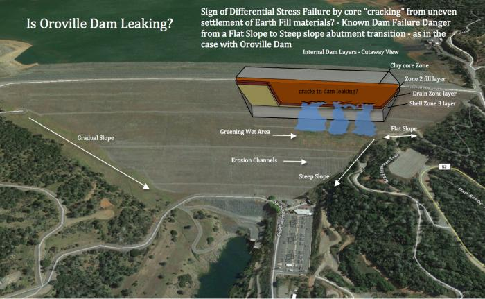 Fig 1. Sign of 'Differential Settlement' inferring 'cracks' within the core of Oroville Dam. Greening Wet Area, with erosion channels, being investigated by DWR. 'Differential Settlement Failure' known to occur from Steep Slope Abutment transitions, as observable in Oroville's side abutment. Seepage is able to reach the outer shell embankment, indicating a 'clogging' of the dam's internal 'Drain Zone' - in addition to soil 'fines' migration creating a horizontal flow bench.