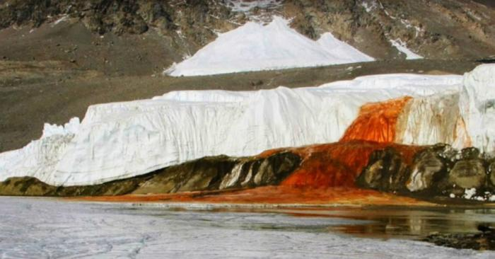 Blood Falls was discovered in 1911. Iron in the water taints it the same red as blood when it reaches the surface.