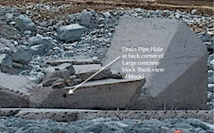 "Fig 10. This Drain Pipe Hole is full size in contrast to the ""remnant"" pipe outline. See Figs 3, 4, for process of ""remnant"" pipe outline formation."