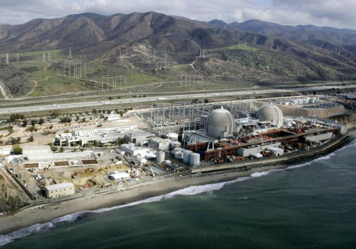 The power plant is a prominent feature next to California