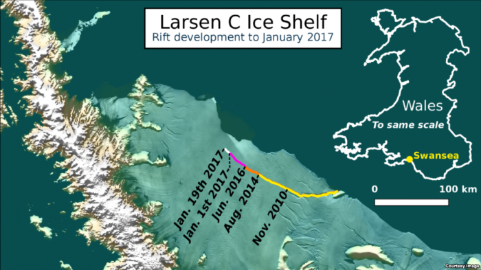 The development of the crack in the ice shelf that has created the iceberg. The crack took several years to develop.