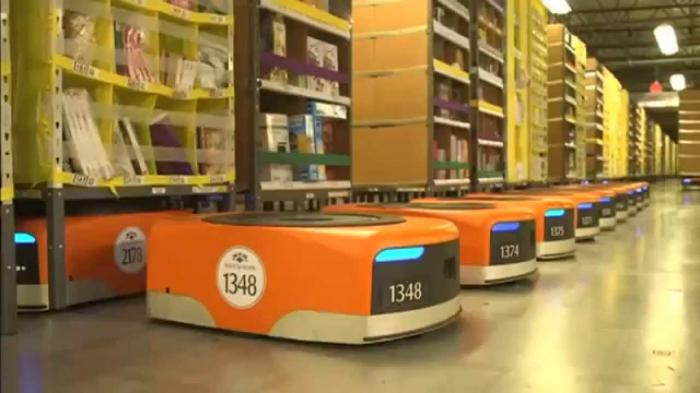 Amazon warehouses are now staffed with armies of robots, not people.
