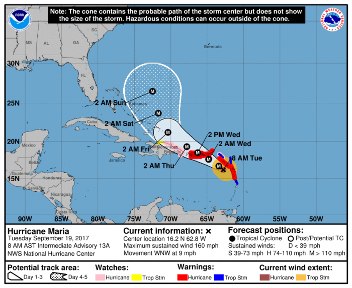 NOAA storm track and warnings for Maria.