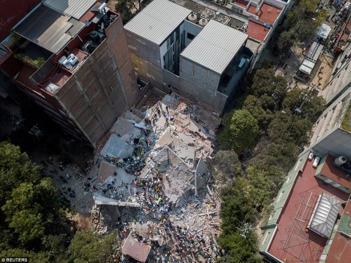 Several buildings pancaked, with multiple floors collapsing. It will take many days to clear out the rubble and locate the remains of the unlucky.