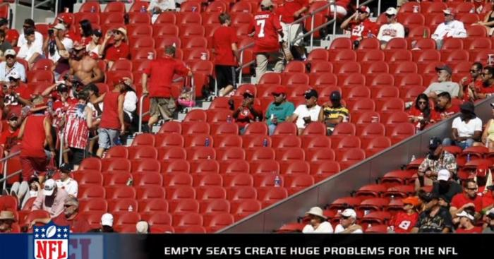 Many stadiums have empty seats. Some fans are boycotting the NFL due to the player