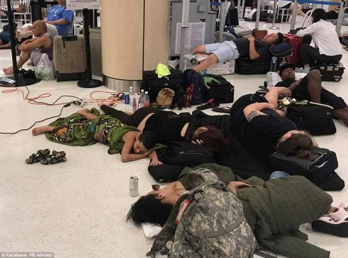 Thousands of people remain stranded at airports on the island.