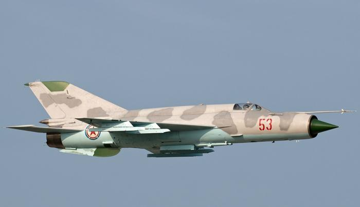 The MiG 21 is an even older design, dating back to the 1950s, but it has been improved though the 1990s (shown: MiG 21bis). It has high speed and is maneuverable, but has short range. It