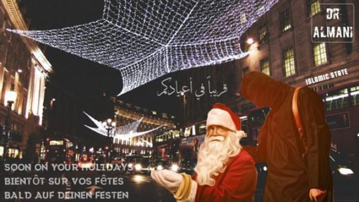 Santa with terrorist in London