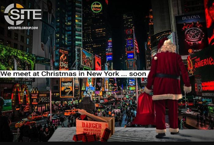 Santa in Times Square next to explosives
