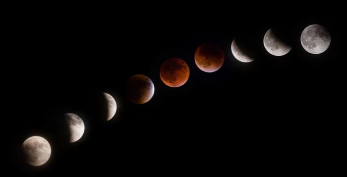 A timelapse of the moon during a lunar eclipse. This is what skywatchers can expect to see on January 31, 2018.