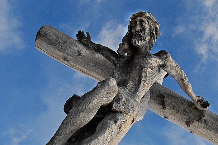 Wooden statue of Jesus on the Cross