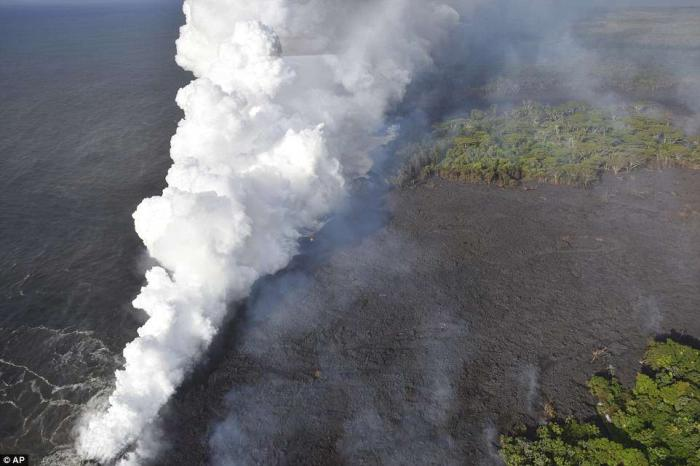 Gasses from the volcano are creating