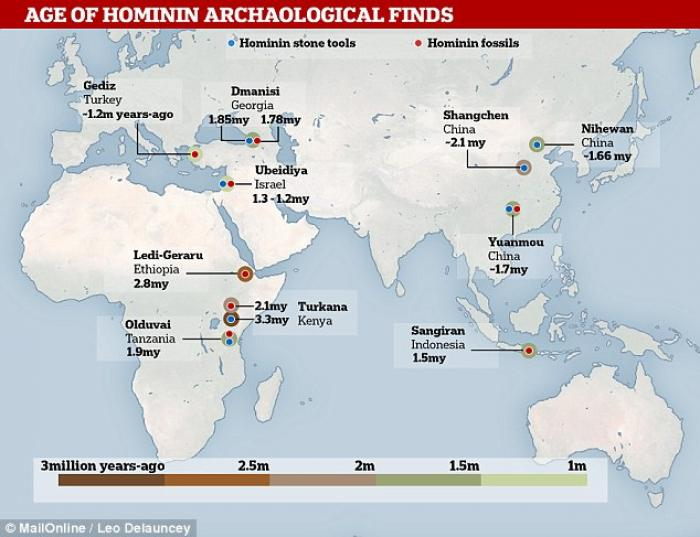 The locations of ancient tools and hominid remains. Blue represents tools and red indicates fossils. Photo: Daily Mail, Leo Delauncey.