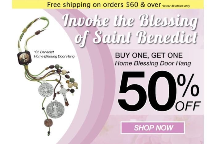 CS - June 2019 - BOGO Door Hang - Buy one Get one 50% Off - St. Benedict Home Blessing Door Hang
