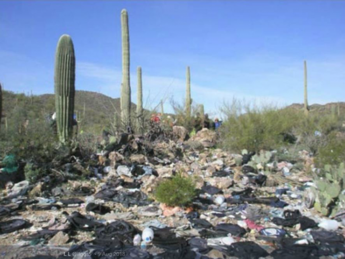Trash accumulates at rest-spots used by caravans of illegal immigrants. Discarded needles, backpacks, and even soiled diapers are everywhere.
