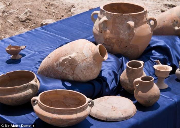 Archeologists also found over 600 ceramic pots at the site, some of which are pictured.