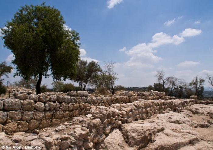 Pictured are the remains of a 30-meter long wall of the palace.