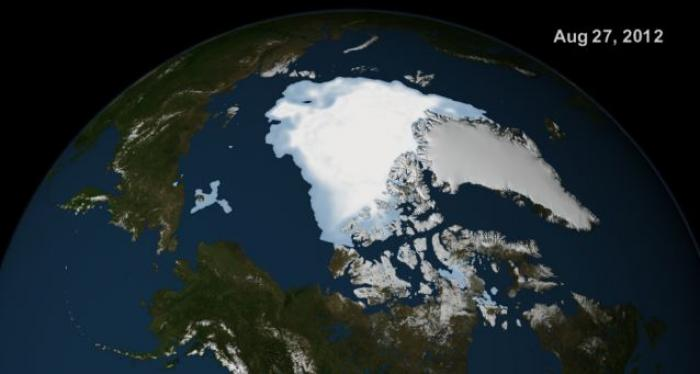 Then... NASA sattelite images showing the spread of Artic sea ice 27th August 2012.