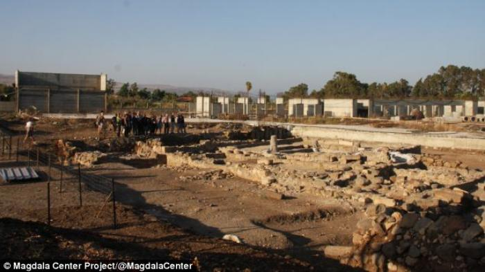 The excavation site in Magdala where evidence of Christian and Jewish interfaith worship has been di