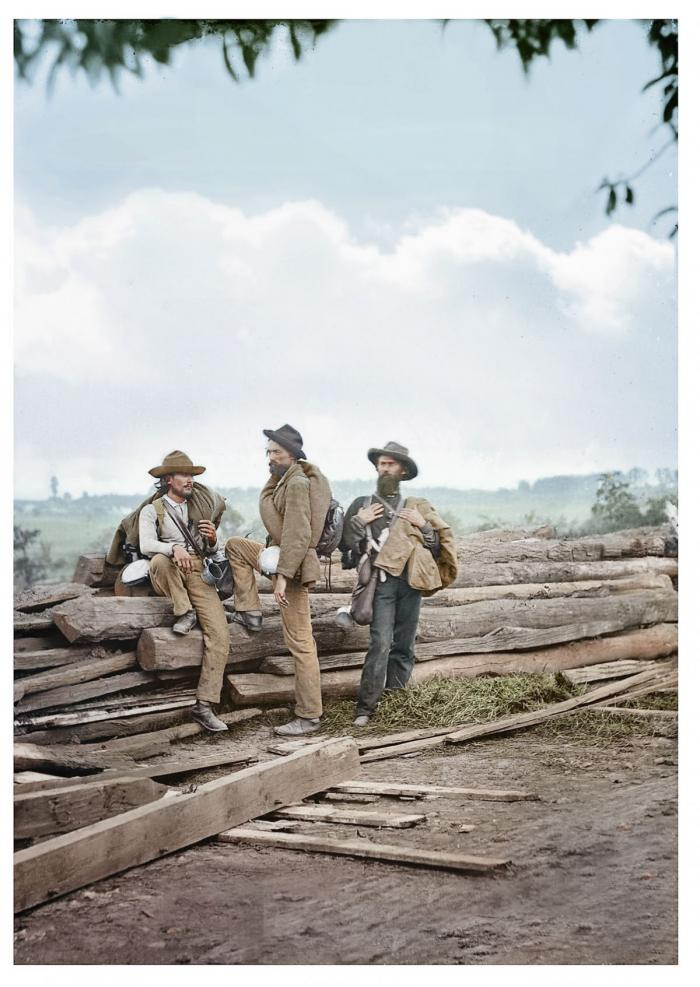 This is an enlargement of the previous image. Shown are three Confederate prisoners captured after t