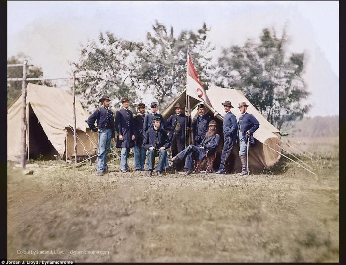 Union staff officers in front of their command tent.