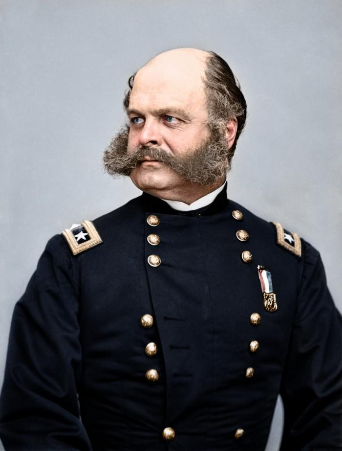 General Burnside was a kindly gentleman who made sideburns notable. Burnside commanded the Army of t