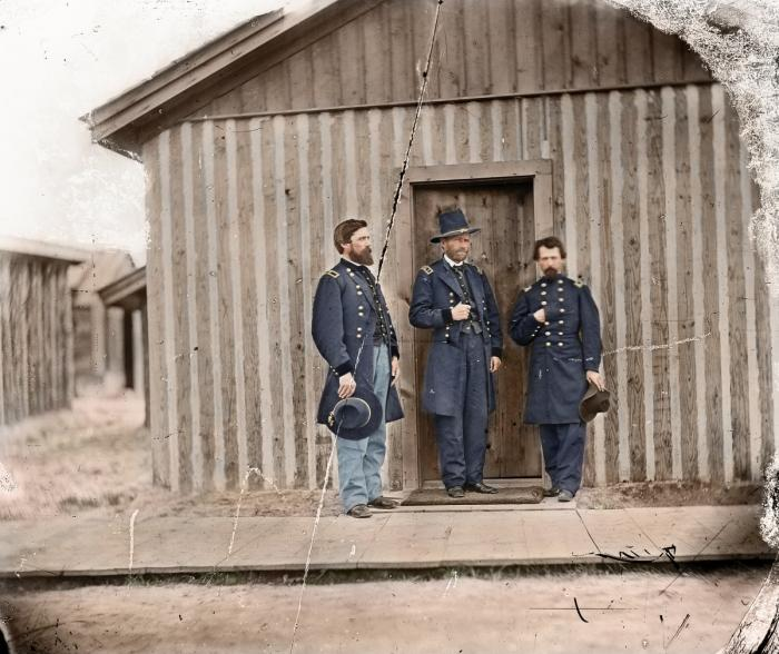 Grant with staff officers during the war. Grant was famously unkempt and made a stark contrast to hi