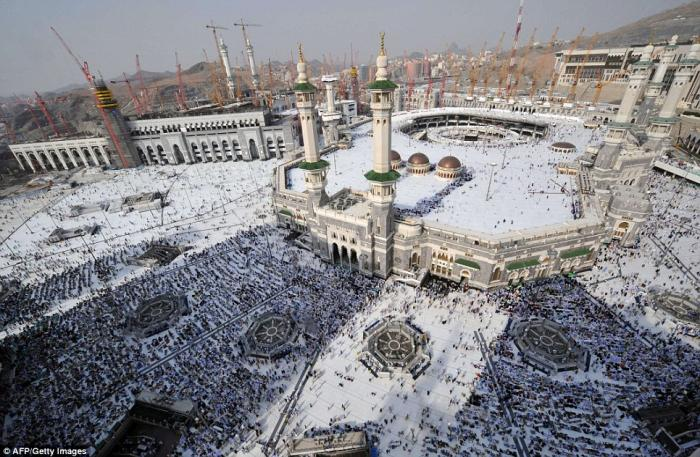 This was the scene today as millions of pilgrims started to arrive at the Grand Mosque in Mecca for