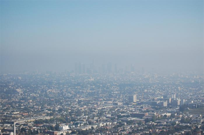 Smog routinely obscures the Los Angeles skyline.