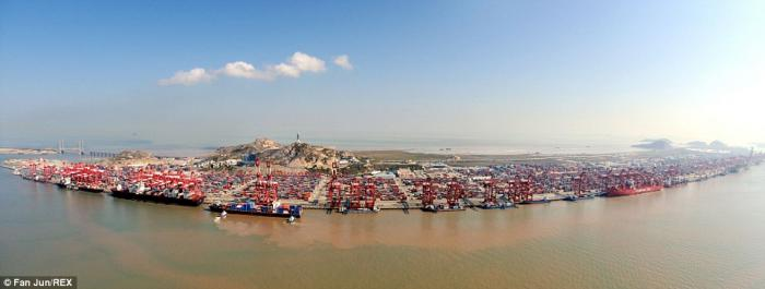 The facility sits at the mouth of the Yangtze river.