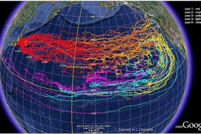 This image shows the projected path of debris over time.
