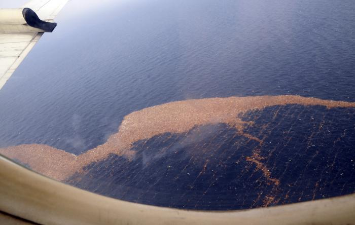 The debris field remains dense in parts. This Navy photo shows the debris field following the quake.