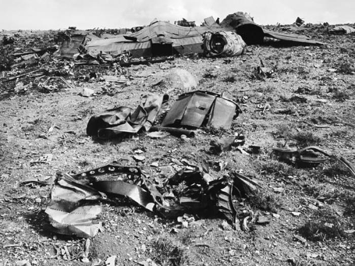 The wreckage of a crashed spy plane. Cover ups such as these fueled public speculation about downed