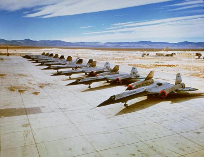 OXCART aircraft lined up for a photoshoot. Despite the secrecy, officials were very proud of their s