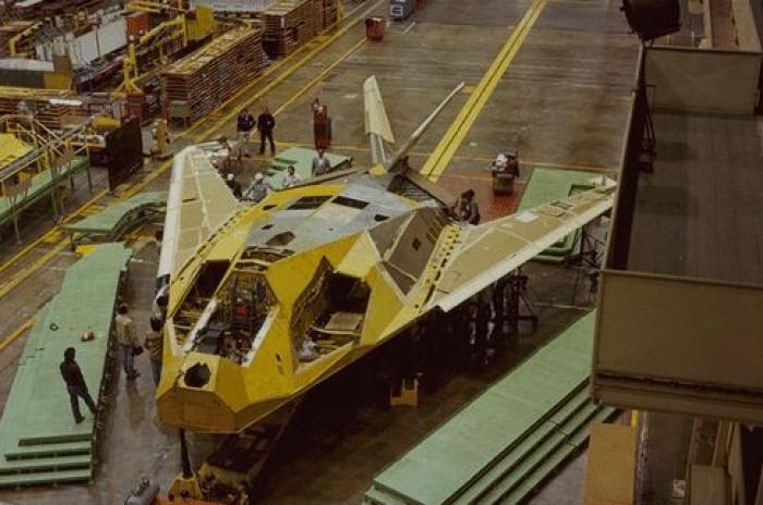 The F-117 Nighthawk Stealth Fighter under construction. The fighter-bomber was used to deadly effect