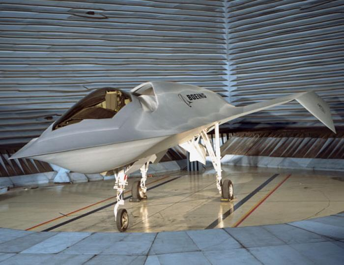 The Boeing Bird of Prey, a technology demonstrator used to test minimization of shadows and active c
