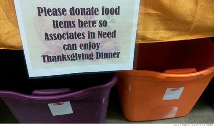 At an Ohio WalMart, employees are being asked to donate food to other employees for the holidays.