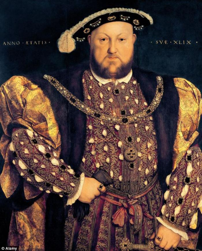 A portrait of Henry VIII (1491-1547) aged 49 in 1540, oil on panel by Hans Holbein.